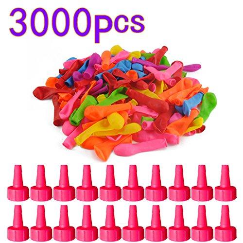 UOPKJL Water Ballons Wasserballons Wasser Luftballons Latex Ballons Kit Wasser Spielzeug für Kinder Einschließlich 3000 Ballons, 20 Kleiner Trichter, Farbe zufällig