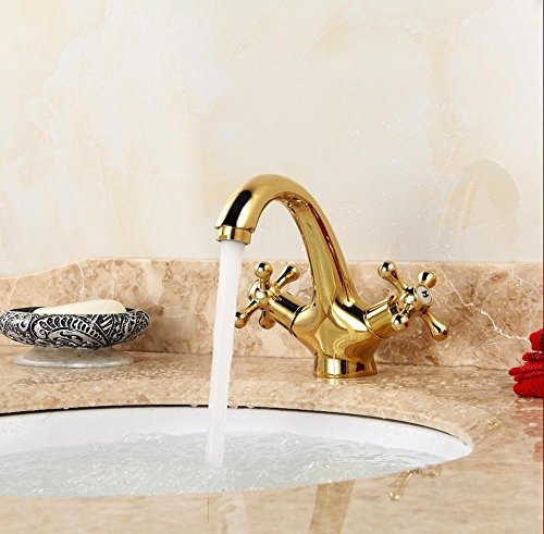 Preisvergleich Produktbild AllureFeng Vergoldete Wasserhahn goldenen Hörnern Big Bend Bad Wasserhahn ist einfach zu installieren