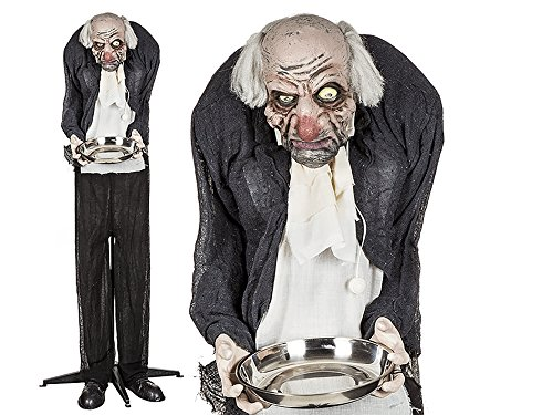 ween Figur Horror Butler mit Licht, Sound & Bewegung | Party Dekoration | Halloween Accessoire | Gruselige Butler | Party Ausstattung | Monster Butler | Grusel Party ()