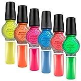 Stampinglack 6er NEON-SET [Neongelb, Neonorange, Neonpink, Neonblau, Neonrot, Neongrün] je 11ml Pinselflasche - Stamping Nagellack - 6 x 11ml