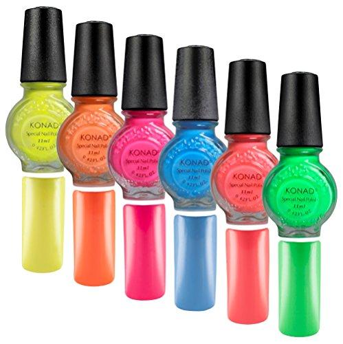 Stampinglack 6er NEON-SET [Neongelb, Neonorange, Neonpink, Neonblau, Neonrot, Neongrün] je 11ml Pinselflasche - Stamping Nagellack - 6 x 11ml -