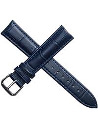 20mm Color: azul marino pulseras para relojes bandas para hombres o relojes de pulsera de las mujeres de cuero genuino mate acolchados