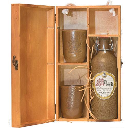 MET Amensis 0,7 l Tonflasche Original MET - Honigwein & 2 Tonbecher m. Salzlasur in Geschenk Holzbox...