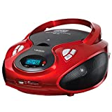 Lauson CP429 - Lettore Portatile CD, USB, Radio AM / FM, MP3, SD-Card, AUX IN, Rosso