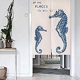 MR FANTASY Mode Japanisch Noren Türgarn Vorhang Tapisserie Baumwoll Leinen Raumteiler für Küche - Seepferde 85x120cm