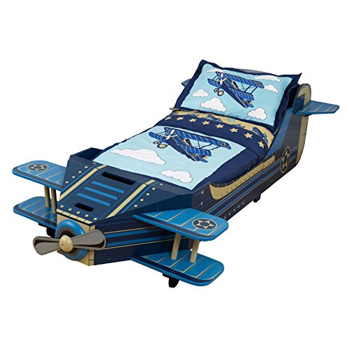 KidKraft 76277 Children's bed with airplane design with wooden frame, furniture for children's bedroom