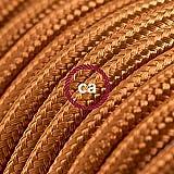 Fil Électrique Rond Gaine De Tissu De Couleur Effet Soie Tissu Uni Whiskey RM22 - 5 mètres, 3x0.75
