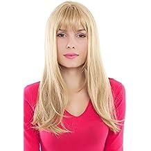 Peluca, Wig rubio, claro, con mechas, liso, flequillo GFW88-24B 60cms