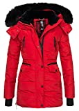 Navahoo Damen Winter Jacke Parka Teddy Fell Mantel Winterjacke Warm B363 [B363-Rot-Gr.L]