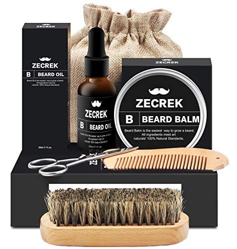kit barba con spazzola barba,olio barba,balsamo barba,pettine barba,forbici barba,set barba uomo regalo prodotti