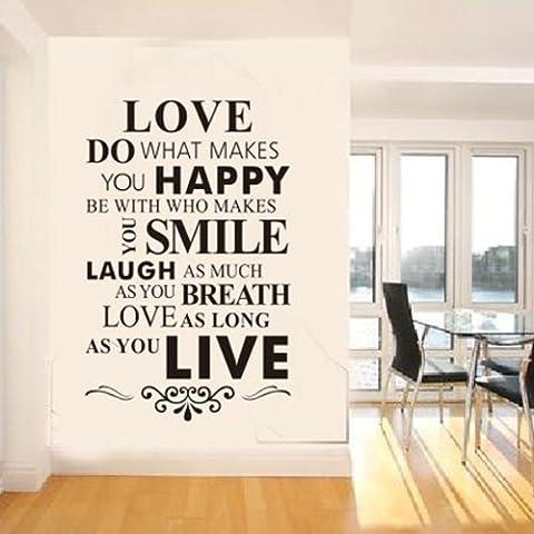 LIVE LOVE cita de pared extraíble pegatinas arte burrda WINYL TecGadgets walplus por FamilyMall