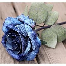 Flores Artificiales 10Pcs Si Una Sola Cabeza Valentine Rose Room Boda Flores Flores Decorativas,Azul