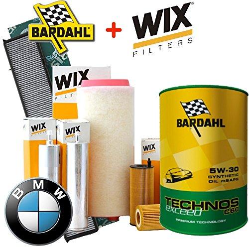 Kit tagliando 4 FILTRI Wix + 8LT OLIO BARDAHL TECHNOS C60 EXCEED 5W30 BMW 530D dal 2003 al 2010 - E60 Filtro Olio Kit