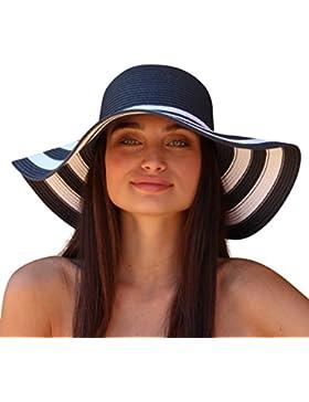 Palms & Sand St. Tropez Mujer Striped Floppy Sun Hat (Marina y Blanco)