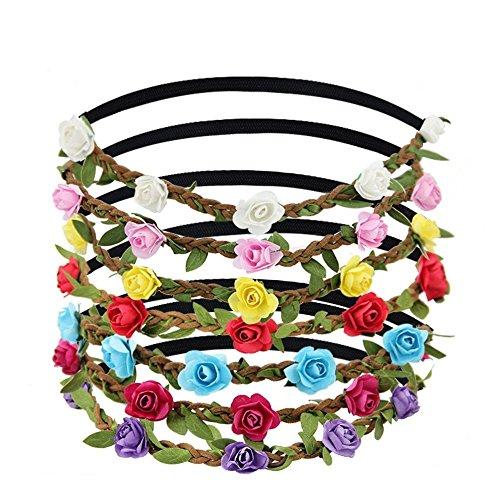 Jtdeal 7pcs fiore fascia elastica rosa corona fascia con corona ghirlanda multicolore fasce per capelli per festa di nozze donna ragazza accessori per capelli