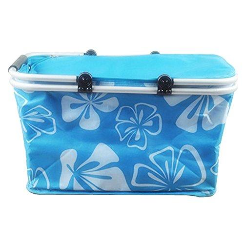 G&Z Pieghevole isolato picnic basket-Take it campeggio, pic-nic, gite in lago, o vacanze in famiglia-mantiene il cibo freddo , blue Blue