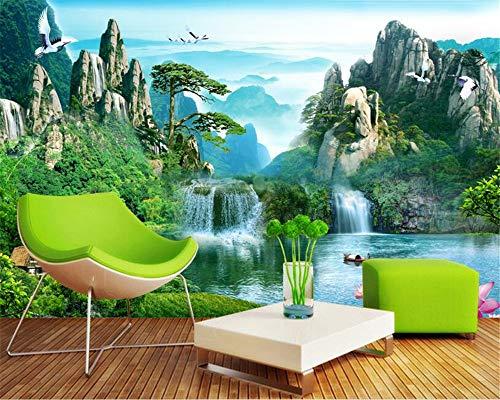 Fondo de pantalla personalizado Hd Naturaleza Pintura al óleo en cascada Arte abstracto moderno Pinturas de pared Sala de estar Mural Wallpaper, 350X256Cm