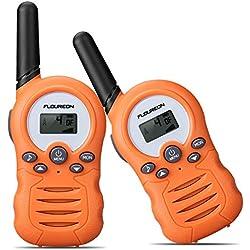 FLOUREON Walkie Talkies para Niños 2PCS 8 Canales PMR 446MHZ con Alcance de hasta 3Miles Interfono Portátil, Color Naranja
