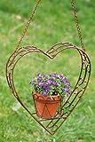 Pflanztopfhänger Herz, Blumentopfhänger, Pflanzenhänger, hängend, Blumentopf, aus Eisen lackiert, Länge 82 cm