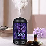 COOSA Genuine Unique Enchanted Forest Designed 100ml Ultrasonic Aromatherapy Essential Oil Diffuser UK Plug Standard Cool Aroma Mist Humidifier with LED Light for Home and Office (Black)