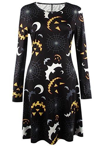 Damen Halloween Kleid mit Druck Kürbis/ Schädel/ Fledermaus/ Ghost Halloween Kostüm Lange Ärmel Rundhals Partykleider Tunika Swingkleider Top
