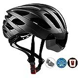 Leadfas Erwachsene Radsport Bike Helm, CE Zertifiziert Leicht Fahrradhelm mit LED Sicherheit Licht und Abnehmbaren Magnet Brillen für Männer & Frauen Sicherheit Schutz, Schwarz