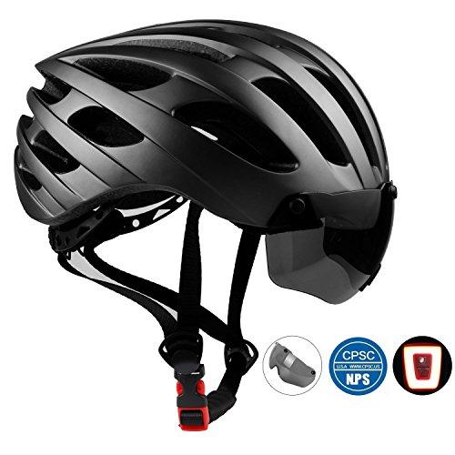 Shinmax Fahrradhelm mit LED-Licht, CE-Zertifiziert, Fahrradhelm Abnehmbare Magnetische Einstellbare Schutzbrille & Komfortable für Erwachsene Männer & Frauen Jugend...