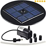 Agora-Tec® AT-1,5W Solar Teichpumpe 1,5 Watt Hmax.: 155l/h Fontainenhöhe: 0,50m für Gartenteich oder Springbrunnen