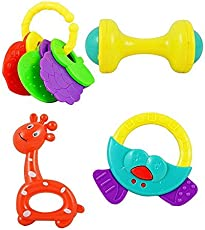 Advent Basics Infants and Toddlers Non Toxic Toys Rattle Set (Multicolour) - Pack of 4
