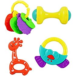 Advent Basics™ Non Toxic Baby Toys Rattle Set of 4 Pieces for Infants and Toddlers - Multi color (4 Bell Toy Set)