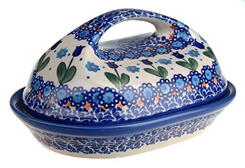 Poterie polonaise Beurrier Céramique décorée à la main Dec: 331-U-006