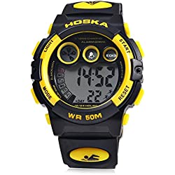 Leopard Shop HOSKA H002B Children LED Digital Watch Day Chronograph LED Sports Water Resistance Wristwatch Yellow Black