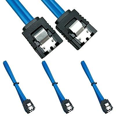 SATA Câble 6.0 Gbps, 3 Pack SATA3 Câble, 18 Pouce,180degrés Bleu de Neeyer