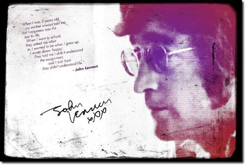 John Lennon: Poster Fotografico (Con replica di Autografo). Rara Stampa Artistica Idea Regalo 30x20cm Cartellone