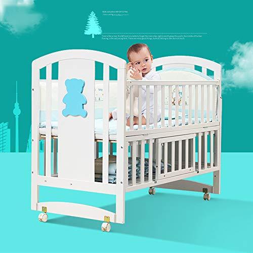 BCB Kinderbetten mit Stauraum, Weißes Massivholzbett Babybetten Mit Walze - Umrüstbar auf Kinderbett/Spleißbett
