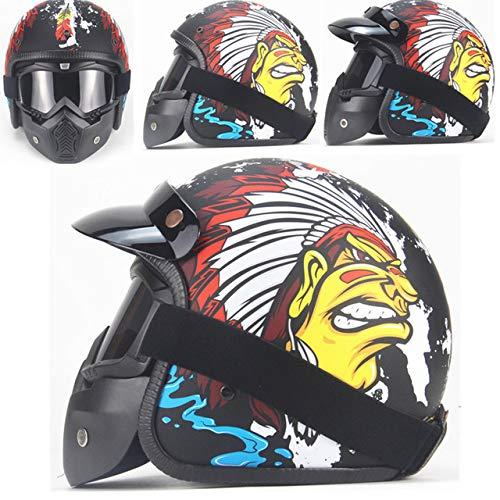 Preisvergleich Produktbild Helm Motorrad Retro Open Face Retro Racing Motorradhelm Mit Schutzbrille Maske YDA Mattschwarz 2 L