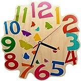 Hess 30002Niños Reloj De Pared Mariposas de madera, diámetro 21cm