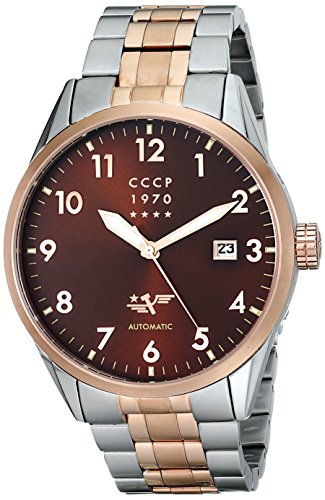 CCCP Men's CP-7015-22 Golden Soviet Submarine Analog Display Automatic Self Wind Silver Watch
