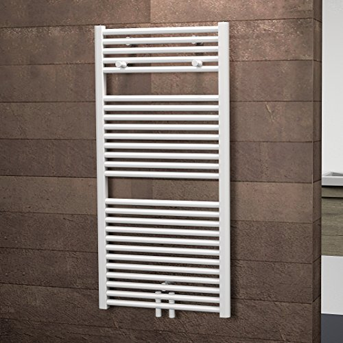 Schulte Badheizkörprer Bavaria, Mittelanschluss unten, 121 x 60 cm, alpin-weiß,  Design-Heizkörper für Zweirohr-System