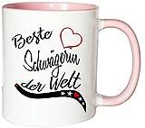 Mister Merchandise Kaffeebecher Tasse Beste Schwägerin der Welt Hochzeit Heirat Verlobung Partnerin Geschenk Familie Teetasse Becher Weiß-Rosa
