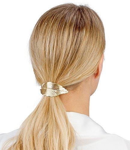 SIX Haarschmuck, elastisches Haargummi mit goldenem Blatt aus Metall für Pferdeschwanz (313-774)