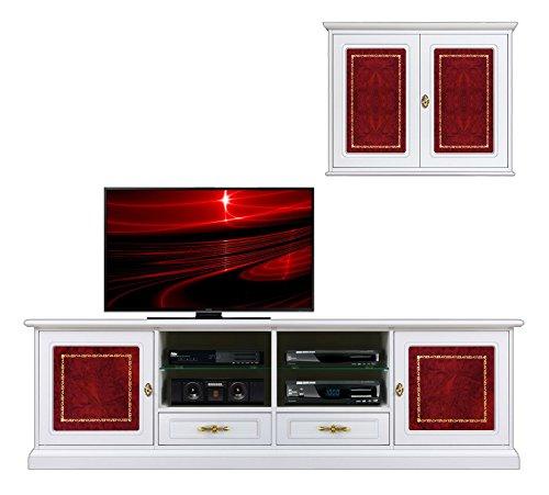 Ensemble mur Tv laqué avec détails en cuir