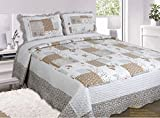 Quilted Vintage Shabby Chic Vintage Maya Patchwork Bedspread / Comforter Throw King Size Multi