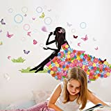 Indexp Sweet Romance Angel Butterfly Flower Fairy Princess Harmony Bedroom Living Room Walls Stickers(34.6x51.97inches)