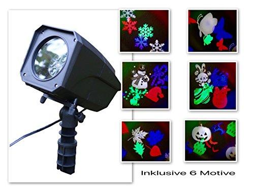 LED Halloween Strahler Bunter Strahler Projektor Beleuchtung Lichteffekt Garten RC Mit 6 Motive: Halloween, Weihnachten, Blätter, Schmetterlinge, Schneeflocken, Ostern