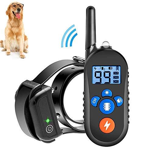 Jiuhuazi [Versión actualizada] Impermeable Cuello 330 Yardas remota formación Collar de Perro con Sonido/vibración/Cuello