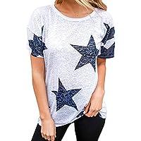 DEELIN Mujeres SeñOras Estrella Camiseta Manga Corta Cuello Redondo Casual Blusa tee Crop Tops Superior Tank Tops para Mujeres Tops