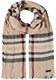 FRAAS Damen-Schal kariert - Crash-Schal mit Karo-Muster - Made in Germany - klassisches Hals-Tuch - Crinkle-Schal Beige