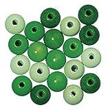 Rayher Hobby 1227800 Holzperlen, poliert, 10 mm Durchmesser, SB-Beutel 52 Stück, grün-töne