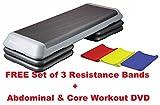 Aerobic Schritt verstellbar Pro Studio Stepper: 109x 41cm 3Schritt Ebenen: Frei Set 3Widerstand Bands